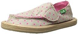 Sanuk Kids Hot Dotty Girls Sidewalk Surfer Shoe (Toddler/Little Kid/Big Kid), Natural/Hot Pink Dots, 6 M US Big Kid