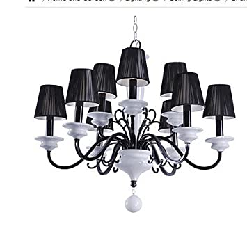 Elegant Metal Chandeliers with 9 Lights with White Ceramic Pillar @Reviews