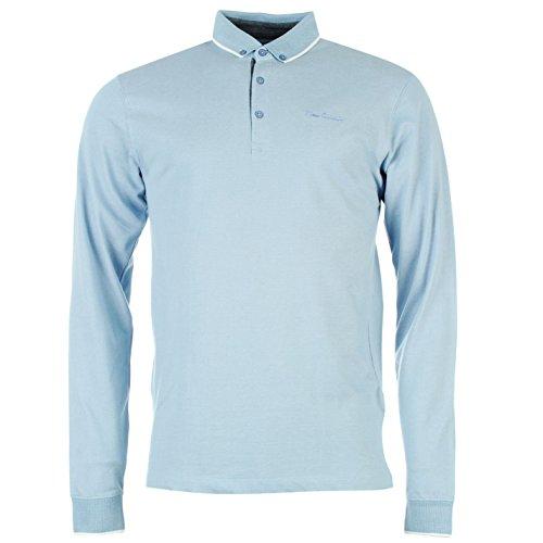 pierre-cardin-jacquard-de-manga-larga-polo-camiseta-para-hombre-azul-parte-superior-camiseta-tee-azu