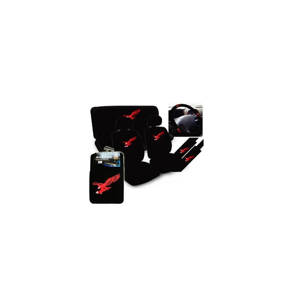 NEW 11 pcs Red Eagle Car Auto Seat Cover + 4 pcs Floor mat
