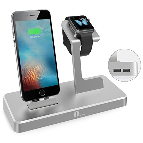 Station Apple Watch, 1byone Charging Dock Support pour iPhone, iPad & Apple Watch iWatch - 3 en 1 Chargeur en Alliage d'Aluminium - Gris