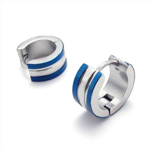 Konov Jewellery Stainless Steel Men's Hoop Stud Earrings Set, 1 Pair 2pcs, Color Silver Blue (with Gift Bag)