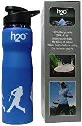 H2O Sporty Design Stainless Steel Sports Water Bottle - Blue Color (750 ml)