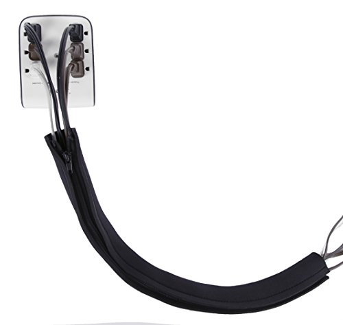 long 28 zip up cable sleeves cable management cable organizer cable cover wire binder. Black Bedroom Furniture Sets. Home Design Ideas