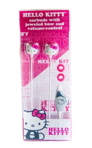 Hello Kitty Earbuds With Jeweled Bow Nd Volume Control