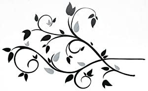 RoomMates RMK1799SCS Scroll Branch Foil Leaves Peel and Stick Wall Decals by York Wallcoverings
