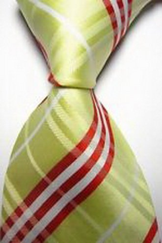 jacob alex #40742 Yellow Red White 100% Silk Plaid Classic JACQUARD WOVEN Men's Tie Necktie