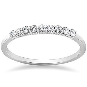 1/4ct Diamond Wedding Stackable Ring 14K White Gold