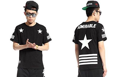 Xtx? Black Hip-Hop Star Print Tee T-Shirt Men Hipster Women Street Top New