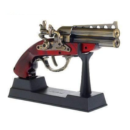 UUMART Style Collectable Roer 1881 Double Brass Barrel Derringer Flintstock Musket Pistol Gun Cigarette Cigar Butane Torch Jet Flame Lighter With Display Stand