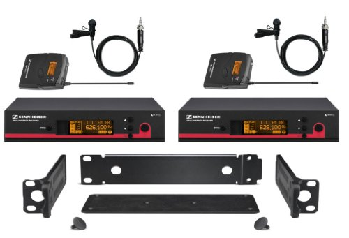 Sennheiser Combo Kit, 2 Ew Wireless Lavalier Mic Systems From Sennheiser Ew112 G3 A (516-558 Mhz) True Diversity Rack Mount Wireless Microphone System With Ga3 Rack-Mount Kit