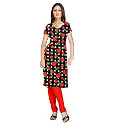 Shopeezo Black and Orange Colored Poly Cotton Printed Dress Material
