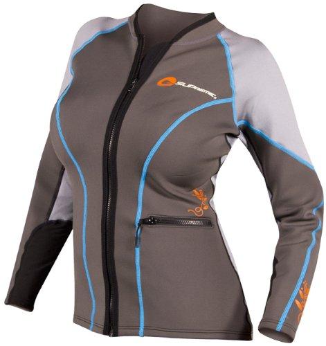 SUPreme Women's Catch 1.5mm Poly Hybrid Jacket, Light/Dark Gray, 6 - Standup Paddleboarding, Kayaking & Water Sports