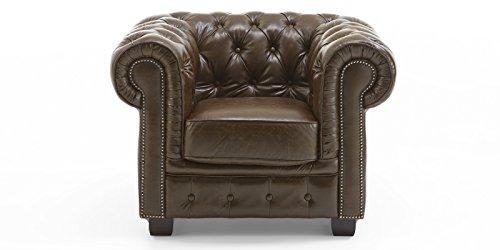Chesterfield-Sessel-Echtleder-Sofa-antik-braun-Knopfheftung-1-Sitzer-Vollleder