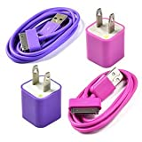 Case Star USB Wall Charger and 2 Piece 3 Feet USB Charge and Sync Data Cable for iPod Touch,iPod Nano,iPhone 3G/3GS/4/4S with Case Star Cellphone Bag - 2 Piece - Hot Pink/Purple