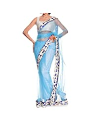 Manglam Sarees Patch Work Saree (Aqua Blue)