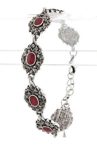 Karmas Canvas Painted Rhinestone Set Bracelet (Red)