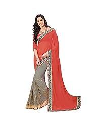 Subhash Sarees Daily Wear Red Color Chiffon Saree Sari Sarees