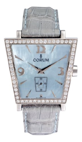 Corum Trapeze Mens Blue Strap Blue Mother-of-Pearl Dial Diamond Bezel Steel Watch 106.404.47/0010PM5