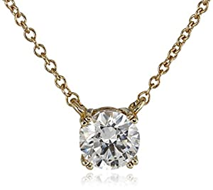 "Plated Sterling Silver and Swarovski Zirconia (1cttw) Solitaire Pendant Necklace, 18"" by Amazon Curated Collection"