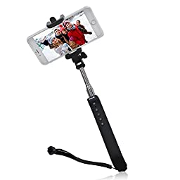 HAVIT HV-BTM27 Bluetooth Selfie Stick Portable Self-portrait Monopod with Touch Camera Shutter for iPhone (Black)