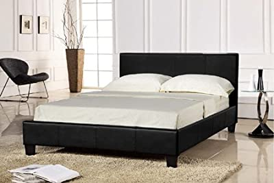 4ft6 or 5ft Faux Leather Bed and Memory Foam Topped Mattress