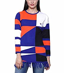 Leebonee Women's Acrylic Full Sleeve Light Royal Blue Sweater