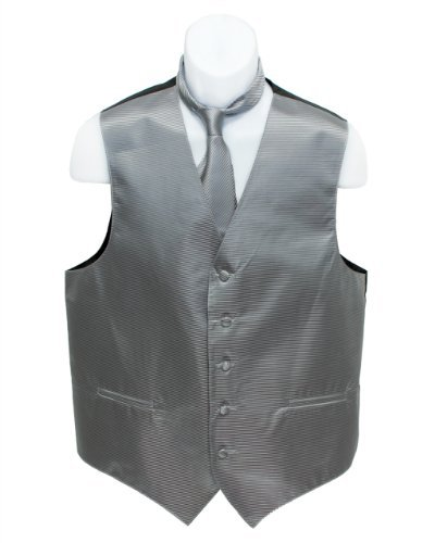 Fine Brand Shop Men's Grey Horizontal Striped Jacquard Suit Vest and Neck Tie Set - XX-Large