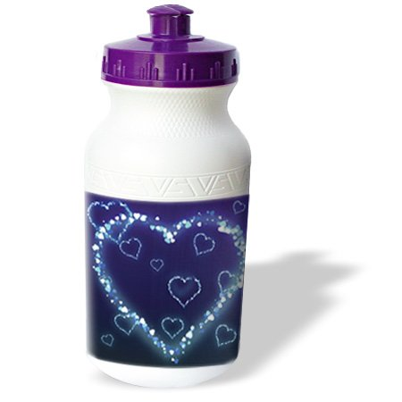 Wb_102492_1 Dooni Designs Valentines Day And Love Designs - Blue Electric Hearts Love Design - Water Bottles