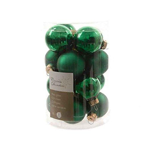 16 palline di Natale palle di Natale per albero di Natale in vetro 35 mm di Diametro, verde opaco e lucido