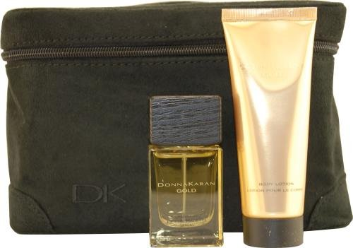 Gold by Donna Karan Sparkling EDT Spray 30ml Body Lotion 75ml & Train Case