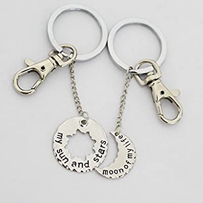 My Sun and Stars, Moon of My Life, Set of 2, Keychain, Game of Thrones Jewelry, Long Distance , Anniversary Gifts for Men