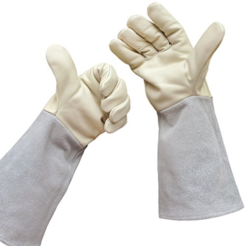 Rose Gardening Gloves by Euphoria - Cowhide Leather Garden Gauntlet Gloves - Puncture Resistant Work Gloves Offer Premium Protection for Men and Women - Best for Pruning Blackberries and Thorny Bushes