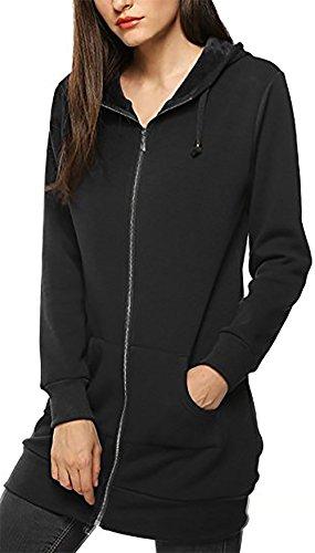 yiyou donne sport freece Casual a Maniche Lunghe Con Cappuccio Zip Felpa con cappuccio cappotto Black 52-54 / XL