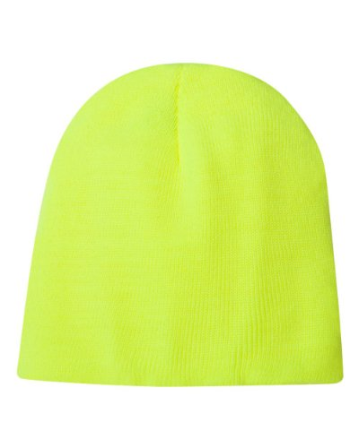 Bayside Unisex Usa Made 8.5 Inch Knit Beanie, Safety Lime