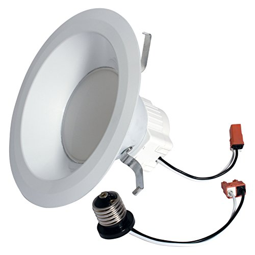 Ge Lighting 95392 Reveal Led 12-Watt 630-Lumen Dimmable 6-Inch Recessed Indoor Flood Downlight With Medium Base And Trim Ring