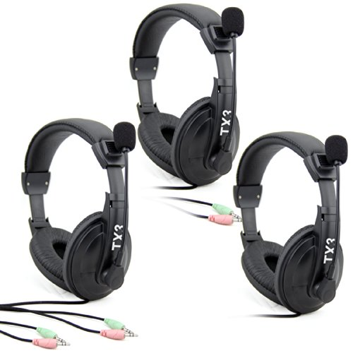 Etekcity® 3 Pack Professional Stereo Headphone Headset Tx3 3.5Mm With Mic Microphone For Computer Pc Laptop Notebook