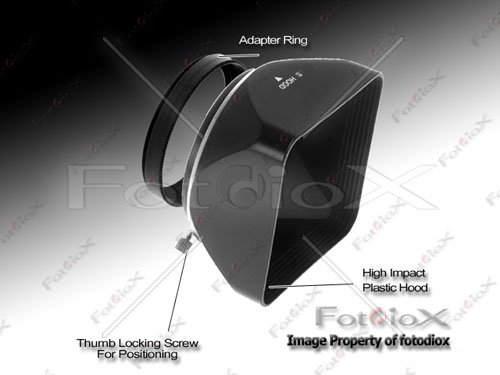 Fotodiox Video / Medium Format Camera Lens Hood, Sun Shade, 49mm Black