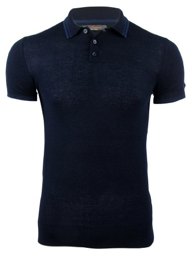 Ben Sherman Mens Knitted Textured Front Polo T-Shirt