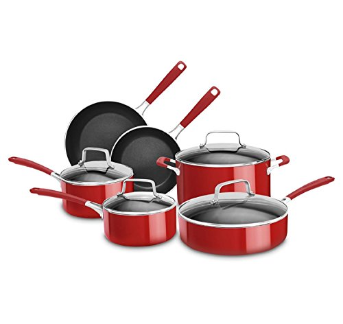 KitchenAid KCAS10ER Aluminum Nonstick 10-Piece Set Cookware - Empire Red (Kitchenaid Professional Cookware compare prices)