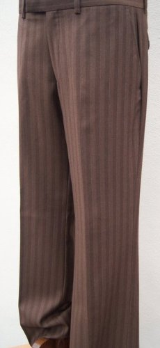 Brown Pure Wool Mens Self Stripe Trouser