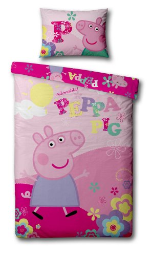 Buy Cheap Peppa Pig 'Adorable' Panel Single Bed Duvet Quilt Cover Set