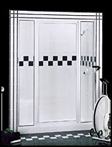 "Basco Thinline Shower Enclosure 125S-2-MY-WI. 65 3/4''x Panel - Door - Panel 38""-40"", Symmetry Glass, Wrought Iron, Glass"