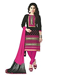 PShopee Black & Pink Cotton Embroidery Unstitched Multistylist Dress Material
