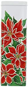 Churchill's Tall Poinsettia Tin with Chocolate Chip Shortbread 250 g
