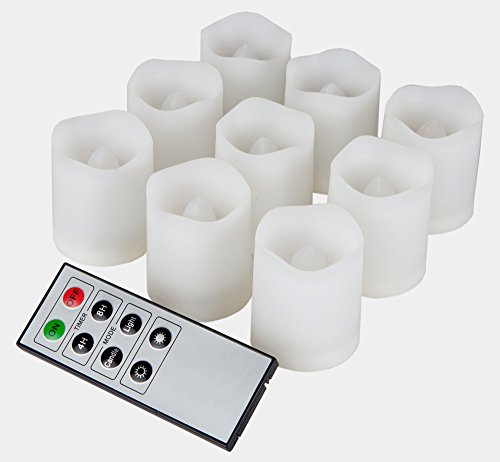 9 Indoor And Outdoor Votive Candles With Remote Control & Timer (Batteries Included)
