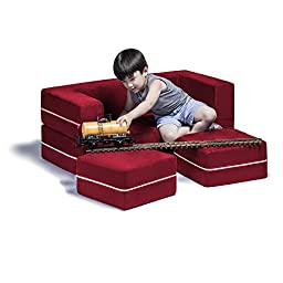 Jaxx Zipline Kids Modular Loveseat & Ottomans / Fold Out Lounger, Cherry