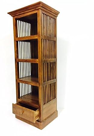 Meuble ethnique Bibliothèque en bois teck massif style colonial