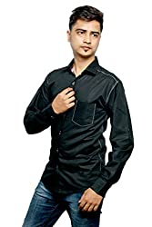 Relish Men's Solid Casual Black Shirt