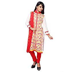 Roohi White Cotton Unstitched Embroidered Dress Material-Salwar Suit